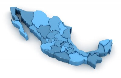 Adesivo Map of Mexico. Image with clipping path.