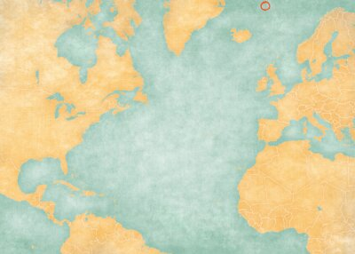 Adesivo Map of North Atlantic Ocean - Jan Mayen