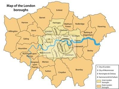 Cartina Dei Quartieri Di Londra.Adesivo Mappa Dei Quartieri Di Londra