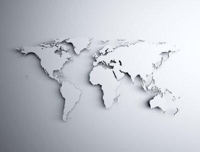 Adesivo Mappa del mondo 3D