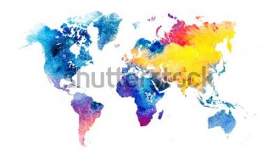 Adesivo Mappa del mondo acquerello colorato.