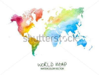 Adesivo mappa del mondo acquerello disegnato a mano isolato su bianco. Versione vettoriale