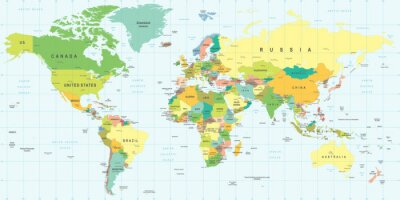 Adesivo Mappa del mondo - altamente dettagliata illustrazione vettoriale.