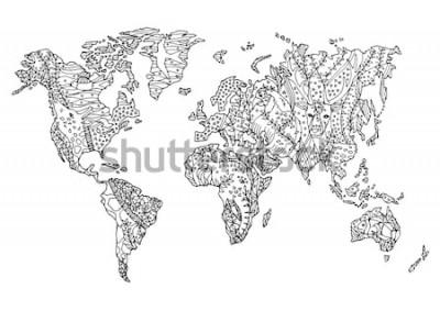 Adesivo mappa del mondo animale selvatico fauna selvatica fiore disegno floreale disegno vettoriale illustrazione disegnata a mano