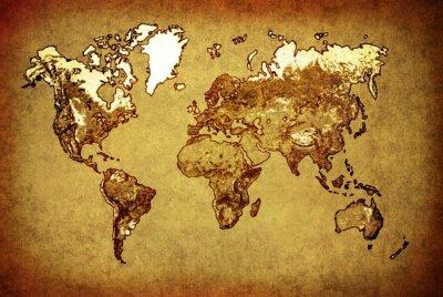 Adesivo Mappa del mondo antico sulla vecchia carta