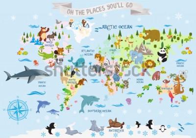 Adesivo Mappa del mondo con animali / Oh, i posti in cui andrai