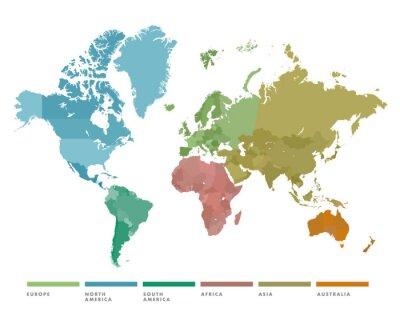 Adesivo Mappa del mondo con continente di colore diverso