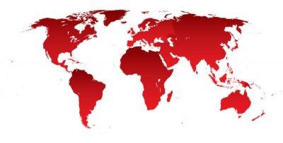 Adesivo Mappa del mondo continenti rossi
