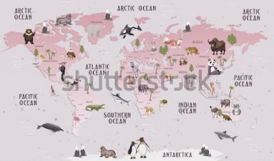 Adesivo Mappa del mondo degli animali per il design della carta da parati per bambini