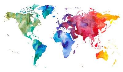 Adesivo Mappa del mondo dell'acquerello