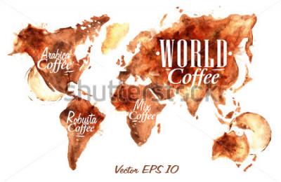 Adesivo Mappa del mondo di disegnato versare il caffè con scritta arabica, robusta, mescolare con spruzzi e macchie stampa tazza.
