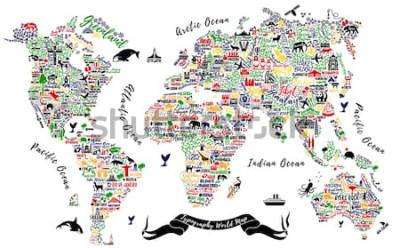 Adesivo Mappa del mondo di tipografia. Poster di viaggio con città e attrazioni turistiche. Illustrazione vettoriale Inspirational.