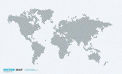 Adesivo Mappa del mondo di vettore con rotondi, punti, punti per modelli di business