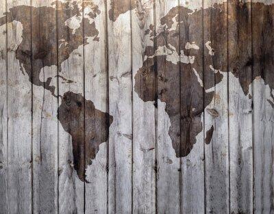 Adesivo Mappa del mondo disegnato su effetto legno tela
