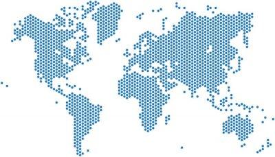 Adesivo mappa del mondo Dots su sfondo bianco, illustrazione vettoriale.