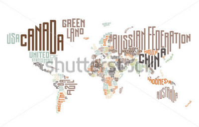 Adesivo Mappa del mondo fatta di nomi di paesi tipografici. Illustrazione vettoriale