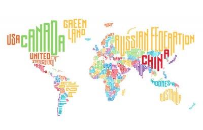 Adesivo Mappa del mondo fatto di nomi di paese tipografici