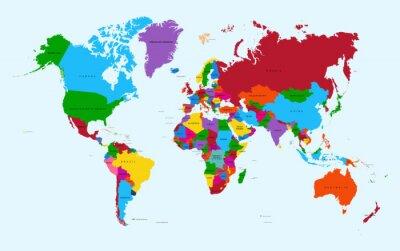 Adesivo Mappa del mondo, paesi colorati atlante file vettoriale EPS10.