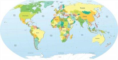 Adesivo mappa del mondo politico a colori