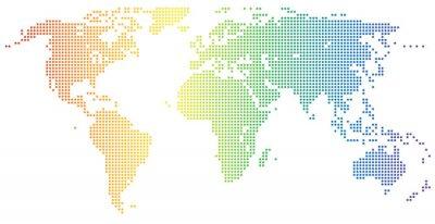 Adesivo Mappa del mondo - punteggiata nei colori dell'arcobaleno