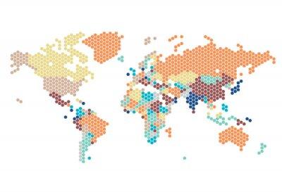 Adesivo Mappa del mondo punteggiato di punti esagonali
