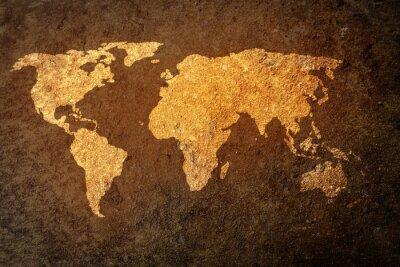 Adesivo mappa del mondo su sfondo grunge