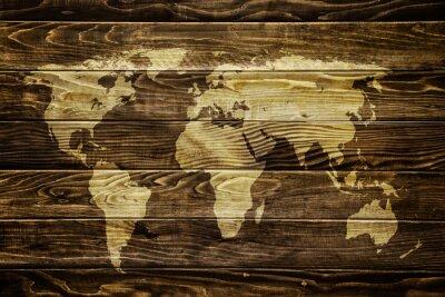 Adesivo Mappa del mondo sullo sfondo di legno
