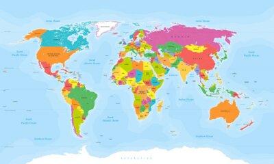 Adesivo Mappa del mondo vettore. etichette English / USA