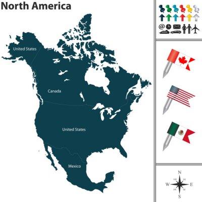 Adesivo Mappa del Nord America