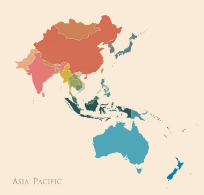 Adesivo Mappa dell'Asia Pacifico