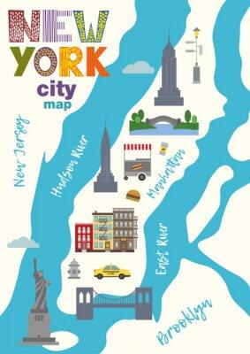 Adesivo Mappa della città di Manhattan della città di New York