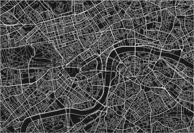 Adesivo Mappa della città di vettore in bianco e nero di Londra con strati separati ben organizzati.