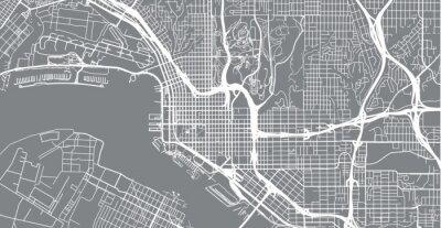 Adesivo Mappa della città urbana di vettore di San Diego, California, Stati Uniti d'America