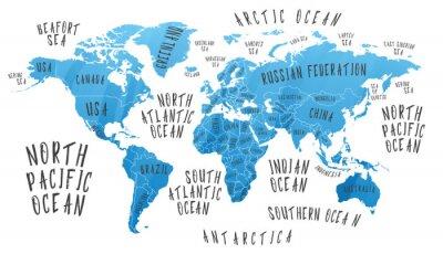 Adesivo Mappa della terra con il nome dei paesi