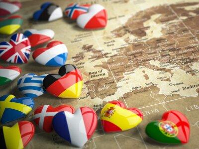 Adesivo Mappa di Europa e cuori con le bandiere dei paesi europei. Trave