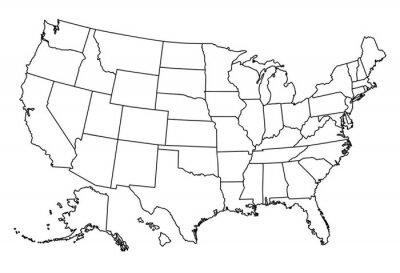 Adesivo Mappa di Stati Uniti d'America