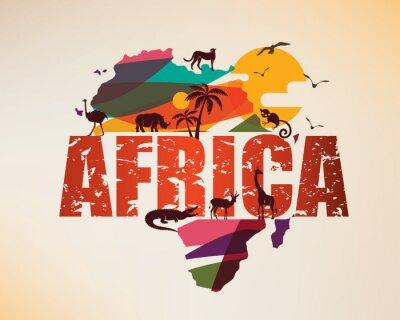 Adesivo Mappa di viaggio Africa, simbolo decorativo del continente africano con sagome di animali selvatici