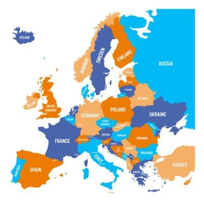 Adesivo Mappa politica del continente europeo in quattro colori con etichette nome paese bianco e isolato su sfondo bianco. Illustrazione vettoriale