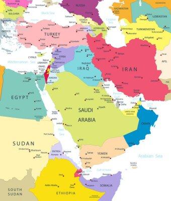 Adesivo Mappa Politica del Medio Oriente e dell'Asia isolato in bianco