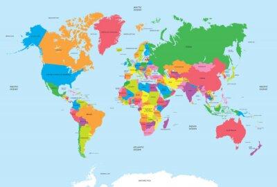 Adesivo Mappa politica del vettore mondo