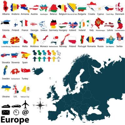 Adesivo Mappa politica dell'Europa