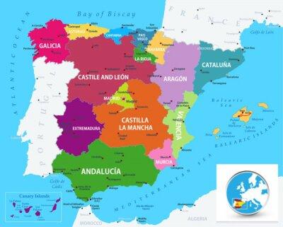 Adesivo Mappa politica della Spagna