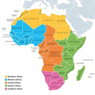 Adesivo Mappa politica delle regioni dell'Africa con singoli paesi. Geoscheme delle Nazioni Unite. Africa settentrionale, occidentale, centrale, orientale e meridionale in diversi colori. Etichettatura ingles