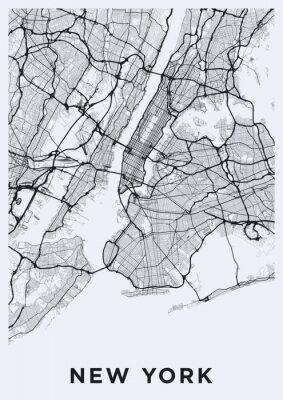 Adesivo Mappa stradale di New York (Stati Uniti). Rete di trasporto della Grande Mela. Formato poster stampabile (ritratto).