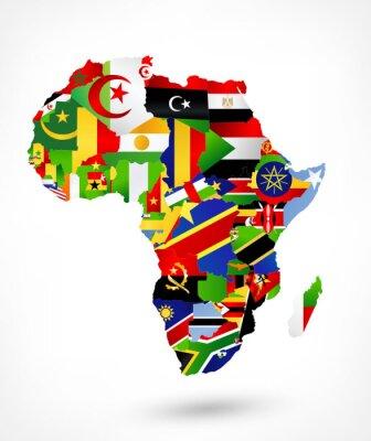 Adesivo Mappa vettoriale di Africa con bandiere e posizione sulla mappa del mondo