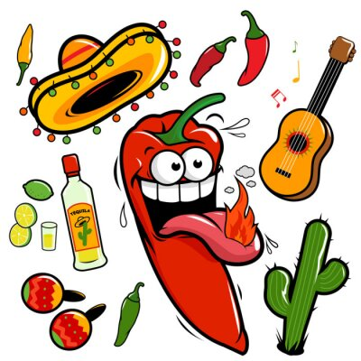 Adesivo Mariachi messicano peperoncino icon collection.