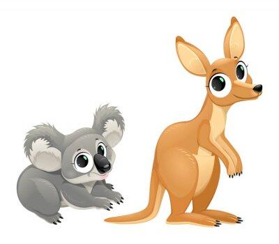Adesivo Marsupiali divertenti, koala e canguri
