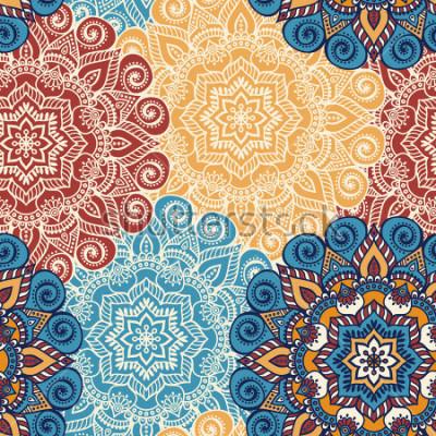 Adesivo Mattonelle senza cuciture con mandala. Elementi decorativi d'epoca Sfondo disegnato a mano. Islam, arabo, indiano, motivi ottomani. Perfetto per la stampa su tessuto o carta.
