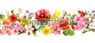 Adesivo Meadow flowers, wild grasses, leaves. Repeating summer horizontal border. Floral watercolor
