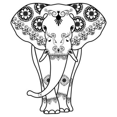 Adesivo Mehndi tatuaggio Elefante decorato in stile indiano